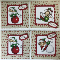 PACK OF 4 CUTE ELF CHRISTMAS CARDS