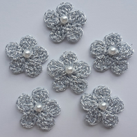 Silver Crochet Flowers with Pearl