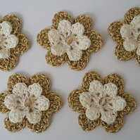 Cream and Gold Handmade Crochet Flowers