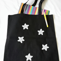 Handmade tote bag with shiny silver stars