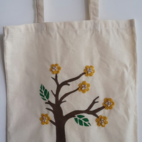 Handmade tote bag- hand painted with crochet flowers