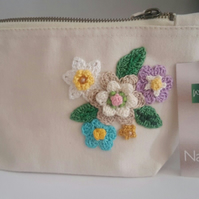 Handmade Make Up bag - Travel Toiletry case pouch - Craft Case- Crochet Flowers
