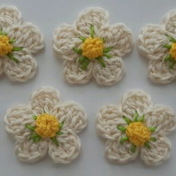 Set of 5 Cotton Wool Crochet Flowers- Crafts-Embellishments - Sewing