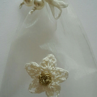6x Cream wedding favour bags- Gifts bags- Bridal shower- Christening favour bag