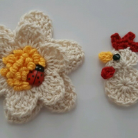 Crochet Flower & Chick - Scrapbooking- Embellishments- Cardmaking -Applique