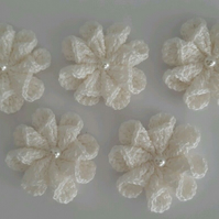 5x White twisted Cotton Crochet Flowers- Crafts- Embellishments