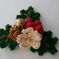 Crochet Holly Berries Set- Embellishments- Scrap booking - Brooch style- Xmas