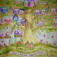 A3 Personalised Watercolour Owl Family Trees.