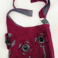 Burgundy Felted wool Tote Bag