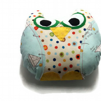 Polka dots and Paper airplanes-Handmade Stuffed Owl