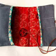 Red Floral-Handmade Zakka Style Sewing Kit with pincushion