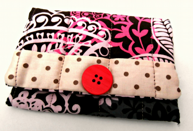 Brown, Biege and Pink, Handmade Snap Pouch: Snap Wallet : Tissue Pouch
