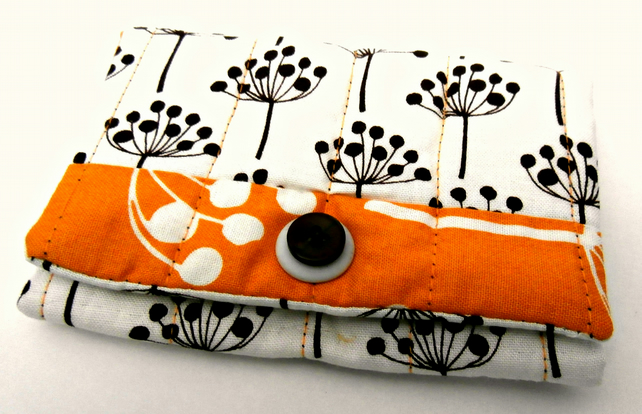 Brown, White and Gold, Handmade Snap Pouch: Snap Wallet: Tissue Pouch