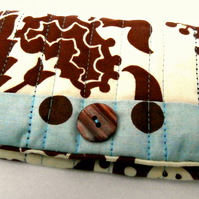 Cream, Brown and Blue, Handmade Snap Pouch: Snap Wallet: Tissue Pouch