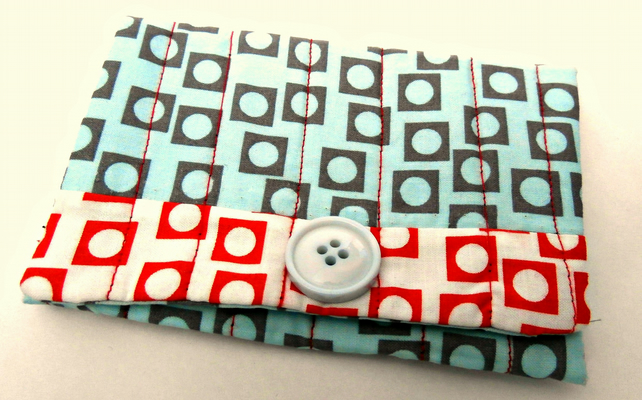 Blue, White and Red, Handmade Snap Pouch: Snap Wallet: Tissue Pouch