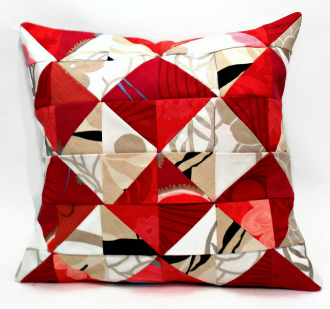 "Abstract Red and Cream Diamond patterned 12"" Handmade Patchwork Cushion Cover"