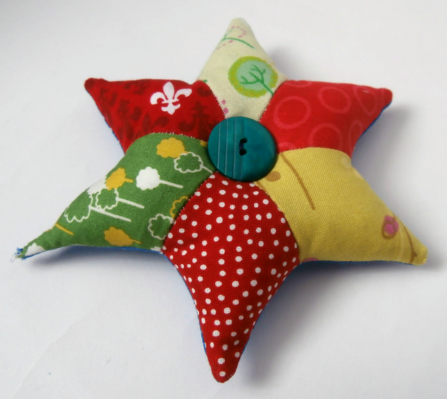 Red and Green, Handmade Patchwork Star Pincushion