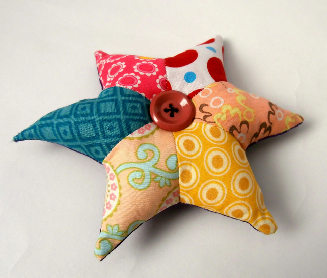 Pink, Red, Yellow and Blue, Handmade Patchwork Star Pincushion