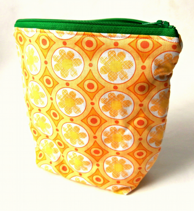 Floral Yellow Handmade Zippered Pouch : Make-up Bag : Cosmetic Bag