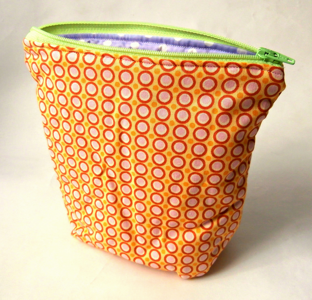 Yellow Polka Dot Handmade Zippered Pouch : Make-up Bag : Cosmetic Bag