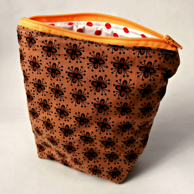 Floral Brown Handmade Zippered Pouch : Make-up Bag : Cosmetic Bag