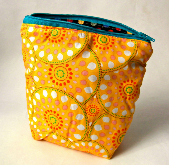 Retro Yellow Handmade Zippered Pouch : Make-up Bag : Cosmetic Bag
