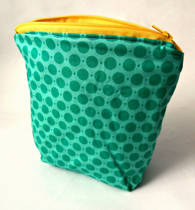 Blue on Blue Polka dot Handmade Zippered Pouch : Make-up Bag : Cosmetic Bag