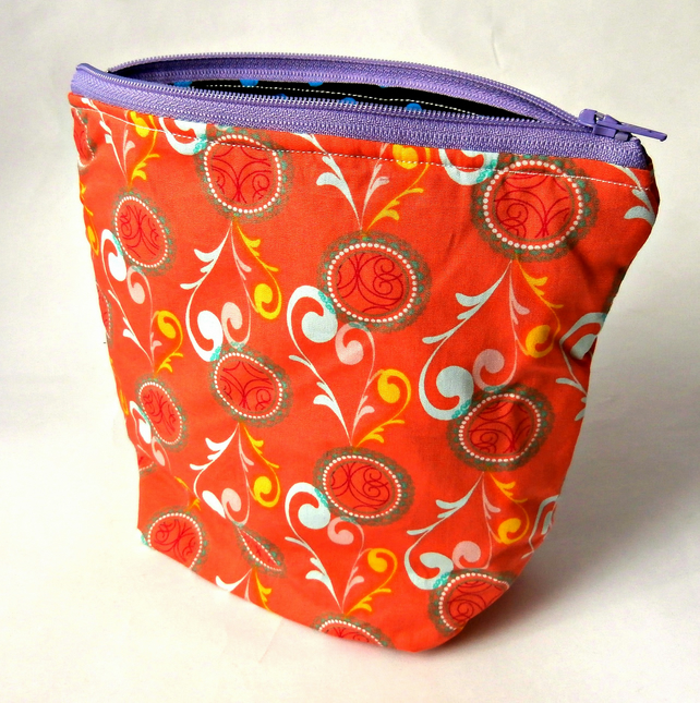 Floral Coral Handmade Zippered Pouch : Make-up Bag : Cosmetic Bag