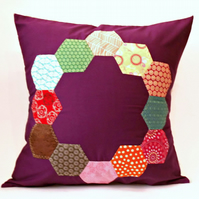 "Purple Hexie Ring Patterned 20""Handmade Cushion Cover"