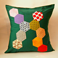 "Bottle Green 20""Handmade Abstract Hexie Patterned Cushion Cover"