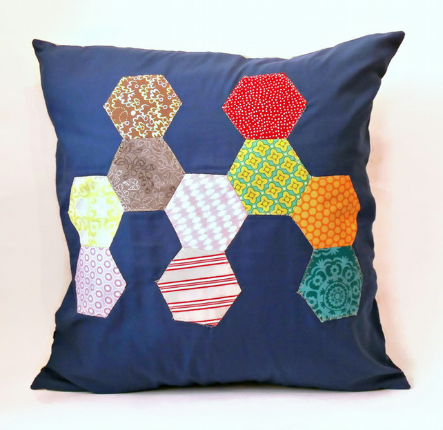 "Navy Blue Abstract Hexie Patterned 20""Handmade Cushion Cover"