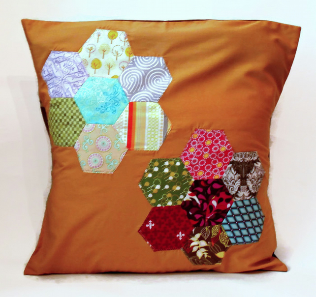 "Mustard Yellow Floral Hexie Patterned 20""Handmade Cushion Cover"