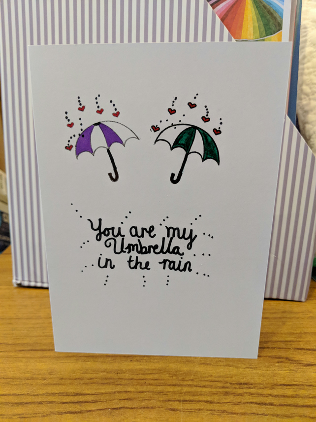 'You are my umbrella in the rain' Valentine's Day card