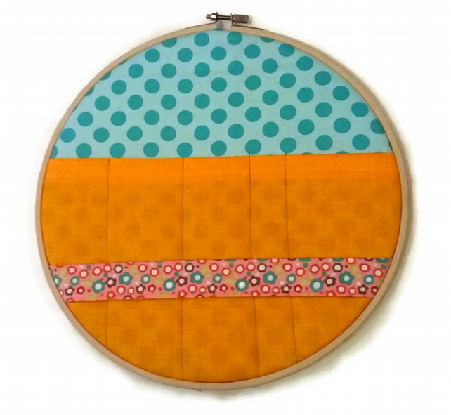 "10"" Embroidery Hoop Organiser in Orange, Blue and Pink"