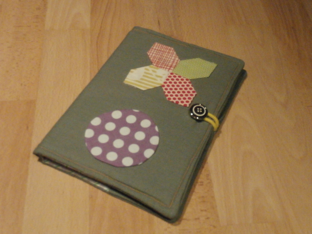 A5 Noughts and Crosses Handmade Linen Notebook Cover with Lined Notebook