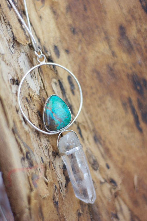 STERLING SILVER QUARTZ AND CHRYSOCOLLA NECKLACE