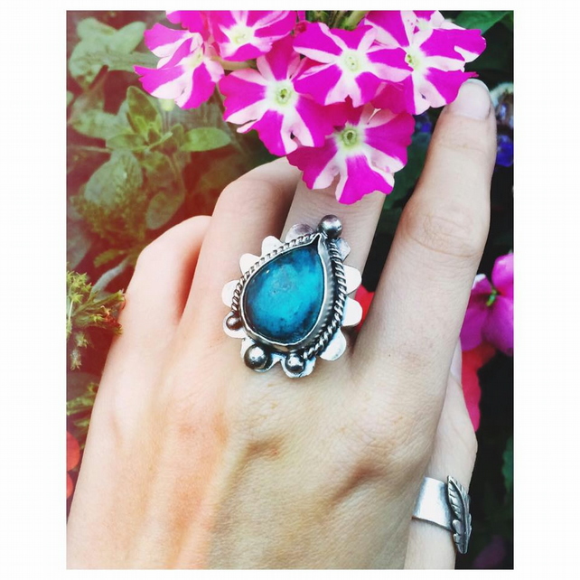 STERLING SILVER CHRYSOCOLLA TEARDROP FLOWER RING