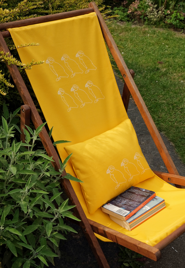 Hand printed deckchair set- sling & matching cushion (free UK postage)