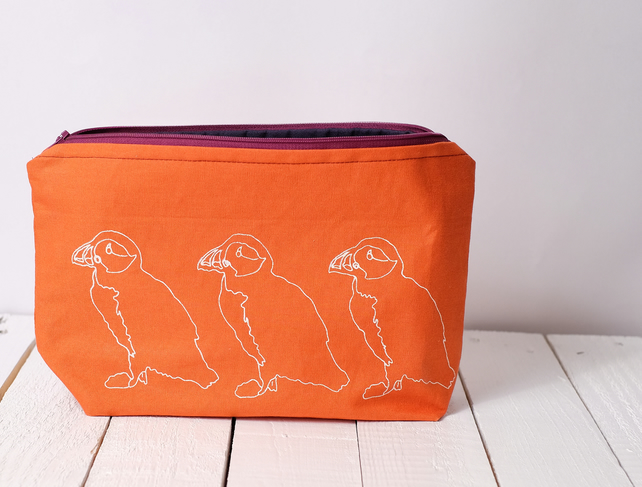 SALE Hand printed wash bag - orange