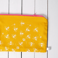 SALE Hand printed wash bag - sunflower yellow