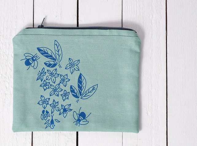 Bees in Orange Blossom - Hand printed make up bag