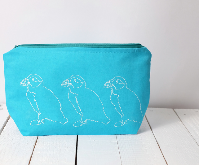 SALE Hand printed wash bag - turquoise blue