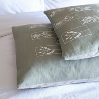 Hedgerow Design - Hand Printed Sage Green Linen 50x50cm Cushion  (& free gift)