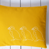 SALE Hand printed yellow cushion - Puffins on Parade design