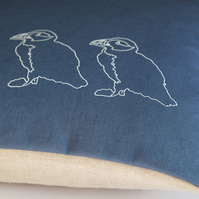 Hand Printed Blue Linen Cushion - Puffins on Parade Collection