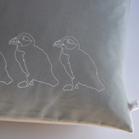 Hand Printed Grey Linen Cushion - Puffins on Parade Collection