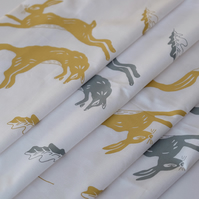 Hand Printed Set of 4 Napkins - Leaping Fox and Hare Collection