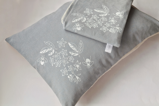 Hand Printed Cushion and Make Up Bag Gift Set
