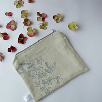 Hand Printed Linen Make Up Bag - Bees In Orange Blossom Collection