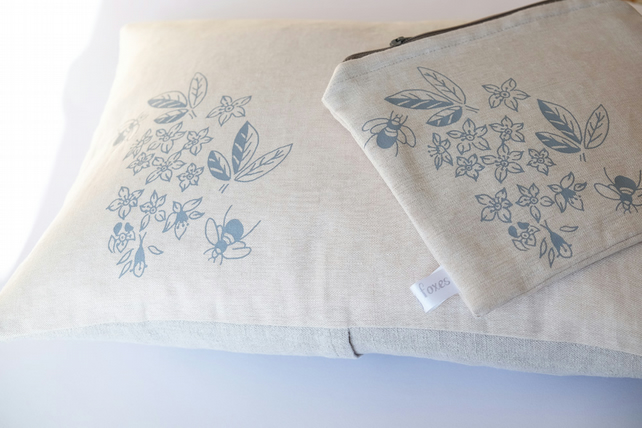 Hand Printed Gift Set - Boudoir Cushion and Make Up Bag